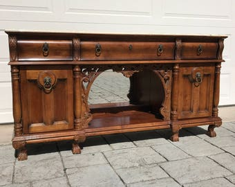 SOLD ~ Antique Marble Top Buffet Sideboard