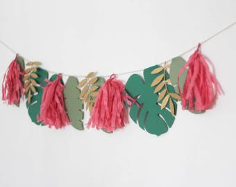 Tropical Garland, Tassel Garland, Hawaiian Tropical Banner, Olive Green Leaf Garland, Gold Leaf Garland, Banana Leaf Garland, Pink, Gold
