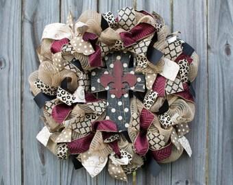 Fluer di lis Cross Wreath