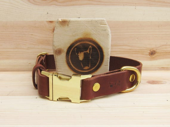 Dog Collar in Brown Leather - Adjustable and Comfortable Dog Collar - Small and Medium Dog Collar - Handmade Dog Collar - YupCollars