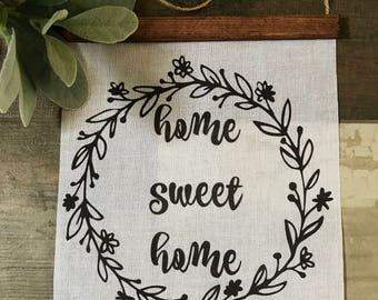 home sweet home sing, home sweet home, home banner, home sign, home wall decor, home sweet home wall hanging, home sweet home banner
