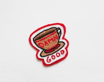 SALE 25% Off Damn Good Coffee patch, Twin Peaks Patch, Hand embroidery, Patch, Embroidered Patch, Twin Peaks Gift