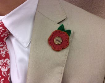 Lapel Flower Pin in Rust Color, made from Felt with a button