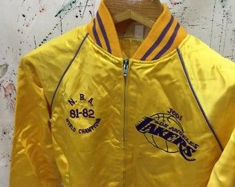 SALE 25% Vintage Los Angeles Lakers World Champion 80s Yellow Satin Jacket Size S NBA Basketball