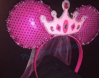 Princess Minnie Ears with Crown and Veil