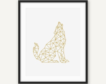 Gold Geometric Wolf Print, Golden Geometry Wall Art, Triangle Animal Poster, Scandinavian Nordic Decor, Printable Digital Art, Abstract Wolf