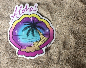 Aloha sunset sticker