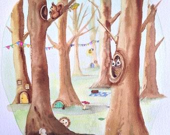 Watercolour original, woodland scene, nursery decor, nursery art, squirrel, owl, hedgehog