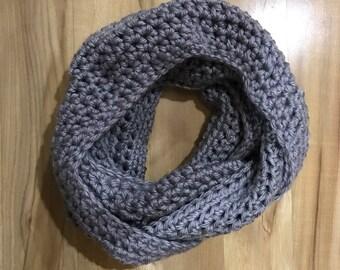 Gray Crocheted Infinity Scarf