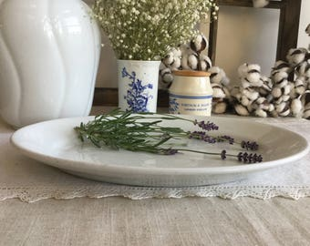 White Ironstone Platter ~ Antique English Ironstone ~ Burgess & Goddard ~ Farmhouse Platter ~ French Country Decor ~ Large Platter