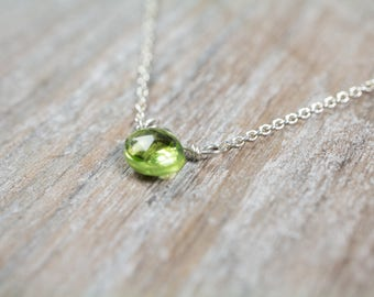 Peridot Pendant with Choice of 14k Gold Filled or 14k Rose Gold Filled or Sterling Silver Dainty Necklace, August Birthstone