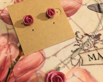 Mother's Day Rose Necklace and Rosebud Stud Earrings Set, Hand Made, Gift for Mom, Roses, Pink Roses, Pink Rosebuds, Pendant and earring set