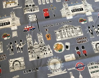 London Themed Framed Fabric Pin Board, Memo Board, Bulletin Board, Message Board, Display Board