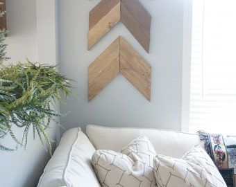 ONE Large Wooden Arrow - Wall Decor - Accent - Handmade - Stained Wood