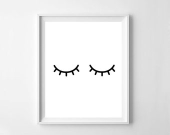 Eyelashes print, printable eyelashes, lashes poster, bedroom wall art, Scandinavian art, affiche print, room decor, digital file, sleepy eye