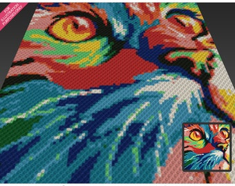 Chromatic Cat crochet blanket pattern; c2c, cross stitch; knitting; graph; pdf download; no written counts or row-by-row instructions