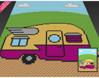 Road Trip crochet blanket pattern; c2c, cross stitch; knitting; graph; pdf download; no written counts or row-by-row instructions
