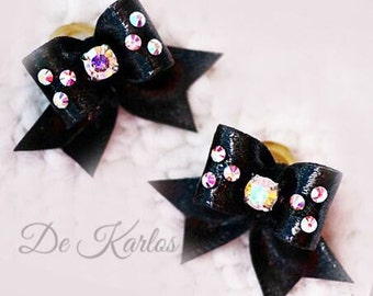 "3/8"" Maltese show bow pair black with rhinestone Swarovski, pair dog bpws, Maltese show bows, show bows for dogs"