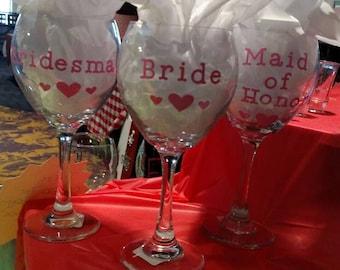 Set of 3 wedding wine glasses