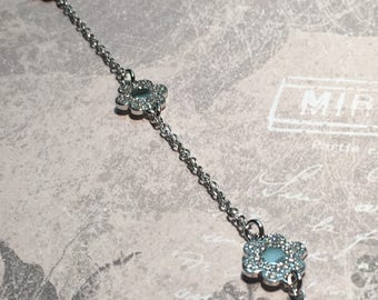 Bracelet 3 flowers in rhodium Silver 925/1000.