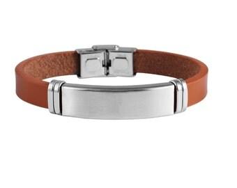Stainless steel identity bracelet ID leather diamond engraved bracelet 20 cm new