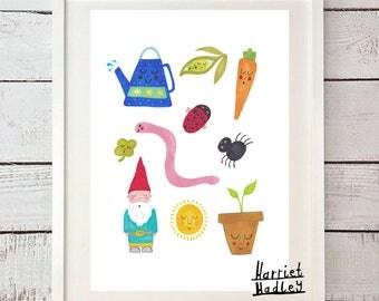 Garden Gnome Creepy Crawly Vegetables Cute Illustration Home Decor Nursery Childrens Art