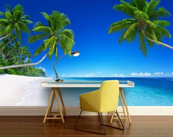 beach wallpaper, Tropical wall mural, sea wall mural, Maldives wallpaper, tropical sea wall mural, ocean wall decal, palms wallpaper, wave