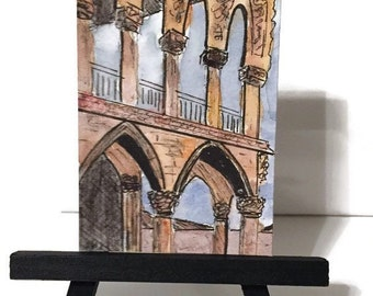 ACEO original watercolor, Artist trading card, Europe series painting, Travel art, ACEO painting, architecture art, original ACEO