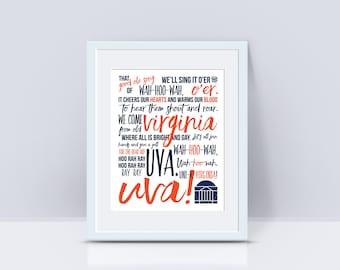 PRINT or DIGITAL | UVA Good Old Song | Wah-hoo-wah | University of Virginia |