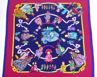 "STUNNING!!! HERMES Vintage HERMES Paris "" Hello Dolly"" by Loic Dubigeon Silk Scarf 100% Authentic Made in France"