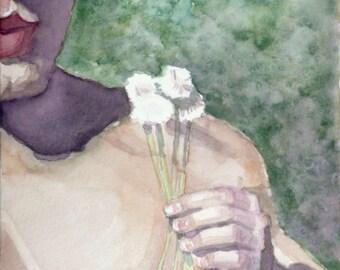 Dandelion, a watercolor