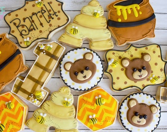 Bears and Bees Custom Decorated Sugar Cookies - One Dozen