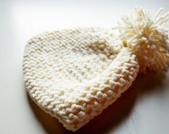 Luxury Pom Pom Beanie, Lambswool Pom Pom Beanie, Chunky Knit Pom Pom Hat, Chunky Knit Beanie, Luxury Wool Beanie, Hand Knit Beanie