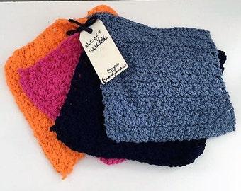 Set of 4 Washcloths (Orange, Pink, Light Blue, & Navy)