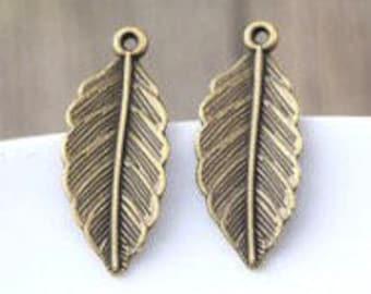 Pair - 31*13mm Antique Bronze Leaf Charm -G30 Boho Charms