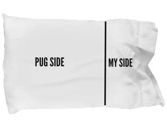 Pug Pillow Case - Black Pug Pillowcase - Pug Gifts - Pug Side My Side Pillowcase - Pug Dog Pillowcase Makes a Great Gift