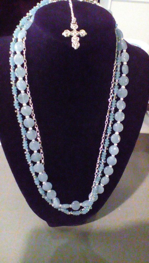 Soft blue multi strand necklace