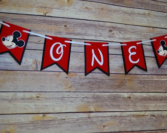 Mickey Mouse Banner Happy Birthday Banner High Chair Banner Photo Prop Mickey Mouse Banner Disney Mickey Mouse Clubhouse decorations One