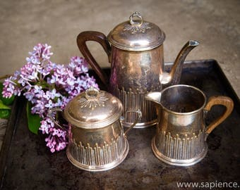 Lovely antique French art nouveau silver plated tea and coffee set