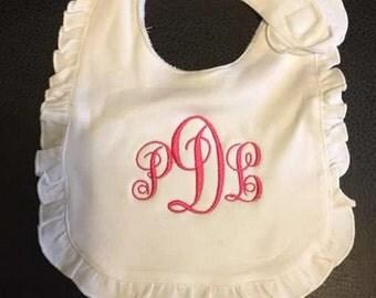 Monogrammed Baby Girl Ruffle Bib