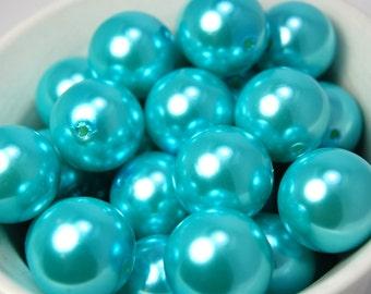 20 pcs Chunky Bubblegum Beads 20mm Aqua Blue Pearl 20pcs