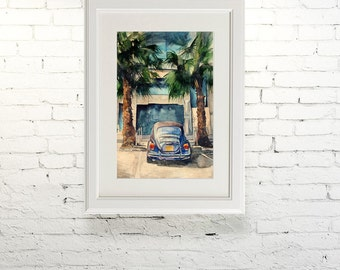 "Printable wall art  Watercolor poster ""Under the palm trees"" Home decor"
