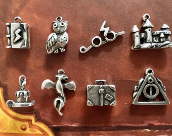 Pack 8 Different Harry Potter Charms, Harry Potter Charms, Harry Potter DIY Jewelry