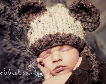 READY, Baby Bear Knit Hat,Newborn Bear Knit, Newborn Bear Hat, Knit Baby bear hat, Baby BOY GIRL Bear Hat, Newborn Bear Hat, Photo Prop