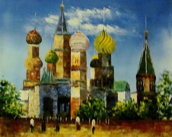 "St. Basil Cathedral in Moscow oil painting on canvas 24""x20"" (60cmx50cm)"