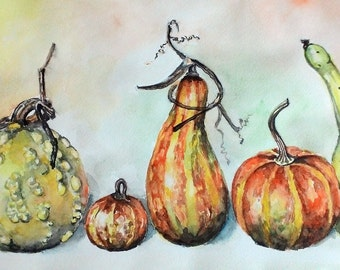 Digital art print, watercolor still life, Pumpkins, kitchen wall art, artwork, wall decor, printable art, watercolour painting,