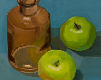 Amber bottle with apples