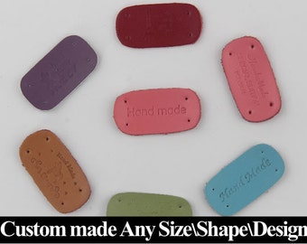 50 Leather labels, custom leather labels, personalized leather labels, clothing leather labels, custom leather tags, Leather labels
