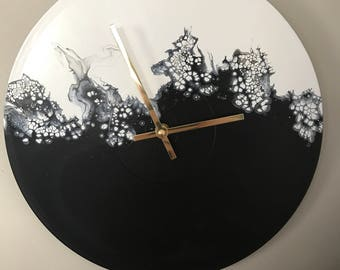 Unique abstract art wall clock upcycled LP record