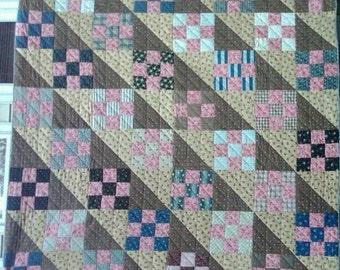 Queen Size Antique Quilt, 'Nine Patch' Vintage Queen Quilt,Brown Tones Circa 1880's Quilt, Handmade  Hand Quilted Queen Blanket #16371